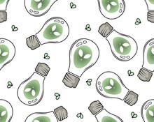 Pattern, Alien Lightbulb, Ufo, Inside, Fireflies, White Background, Flat Illustration, Vector Illustration, Vector, Minimalism, Graphics