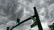 Low Angle View Of Green Traffic Light And Street Name Signs