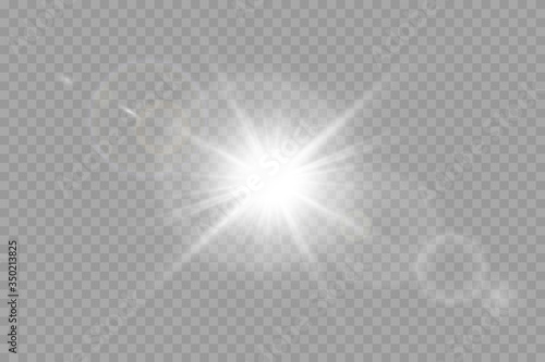 Vector transparent sunlight special lens flare light effect. Poster Mural XXL