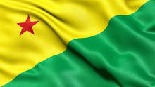 3D Illustration Of The Brazilian State Flag Of Acre Waving In The Wind.
