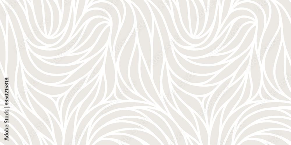 Fototapeta Elegant seamless floral pattern. Wavy vector abstract background. Stylish modern monochrome linear texture.