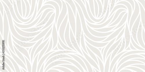 Obraz Elegant seamless floral pattern. Wavy vector abstract background. Stylish modern monochrome linear texture. - fototapety do salonu