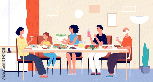 Obraz Family dinner. People eating, house holiday meals. Dining or living room, man woman kids sitting at table. Lunch at home vector illustration. House family dining, home dinner meal - fototapety do salonu