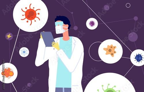 Fototapeta Epidemiology. Virologist protective suit studies viruses and coronaviruses. Medical scientist, laboratory and vaccine development. Man mask vector illustration. Research laboratory, medicine analysis obraz
