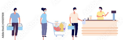Grocery store queue. Global coronavirus COVID 19 pandemic or epidemic. People in masks keep distance in waiting line. Individual shoppers protection vector illustration, supermarket social distancing - 350217838