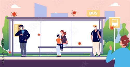 Fototapeta People on bus stop. Man woman kid wearing protective masks. Virus coronavirus or dirty air individual protection. Flu preventions, keep a distance vector illustration. People in mask in bus station obraz