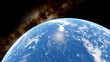 view of planet Earth from space, Earth ocean from space 3d render