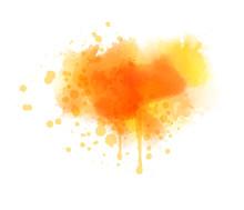 Orange Colored Splash Watercol...