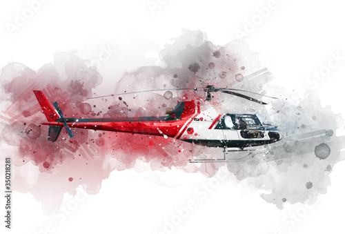 Photo helicopter in watercolor,abstract background