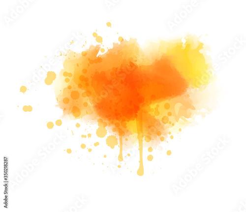 Fotografía Orange colored splash watercolor paint blot - template for your designs