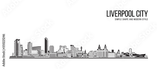 Cityscape Building Abstract Simple shape and modern style art Vector design - Liverpool City