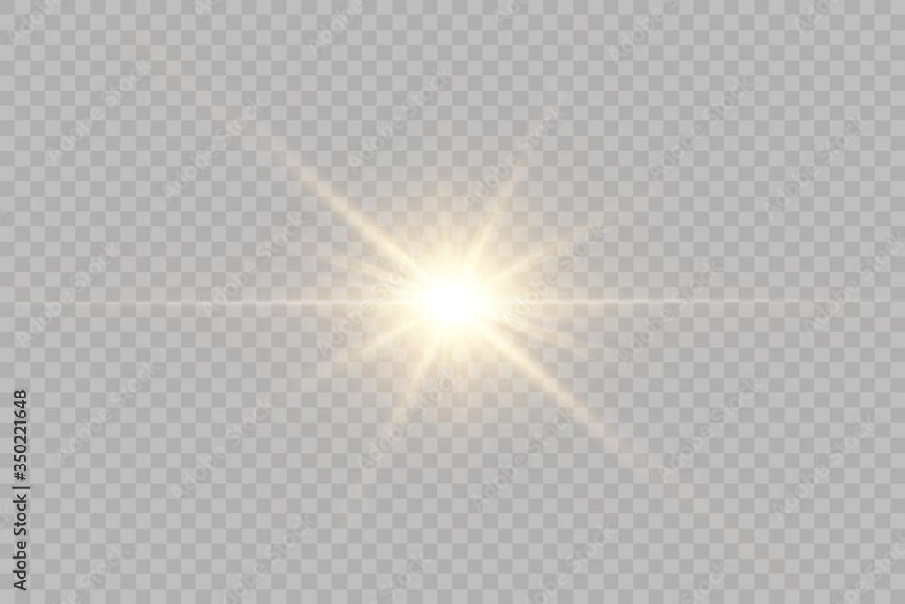 Fototapeta Vector transparent sunlight special lens flash light effect.front sun lens flash. Vector blur in the light of radiance.
