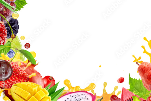 Photo Variety of fruits berries, tropical fruits assortment 3D border