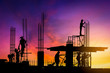 canvas print picture - silhouette of construction workers