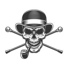 Vintage Gentleman Skull In Fed...