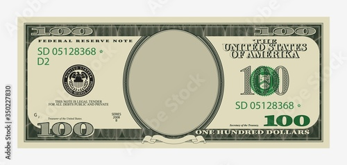 One hundred dollars bill template Canvas Print