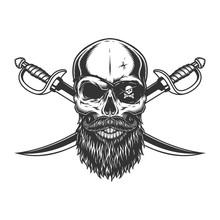 Vintage Skull With Pirate Eye ...
