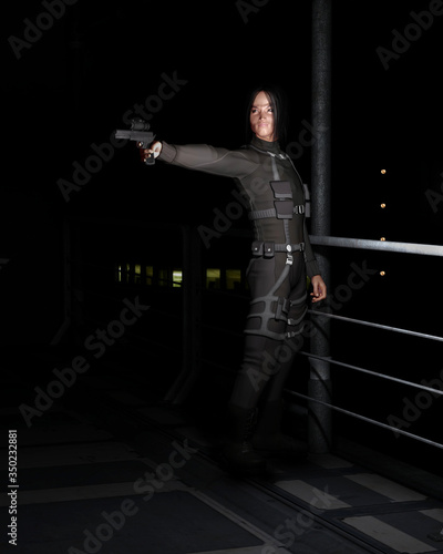 Illustration of a male Asian assassin dressed in black standing in a dark city Canvas Print
