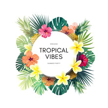 Vector Summer Design With Exotic Monstera Palm Leaves, Frangipani And Hibiscus Flowers And Space For Text. Sale Offer Template, Banner Of Flyer Background. Tropical Backdrop Illustration.