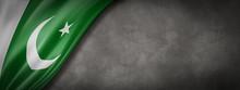 Pakistani Flag On Concrete Wall Banner