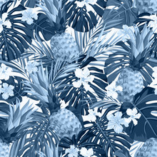 Seamless Hand Drawn Tropical Vector Pattern With Exotic Palm Leaves, Hibiscus Flowers, Pineapples And Various Plants On White Background.