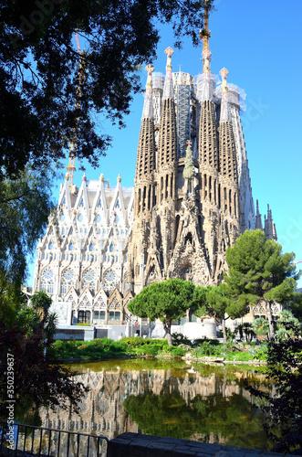Building of Sagrada Familia of Barcelona, Spain on a Sunny Day Canvas Print