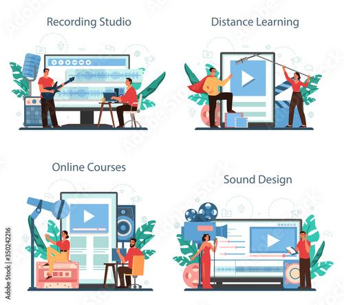 Sound engineer online service or platform set. Music production Canvas Print