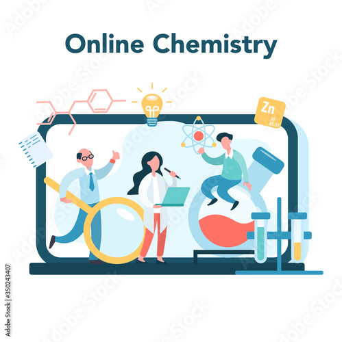 Chemistry online studying concept. Online course or webinar