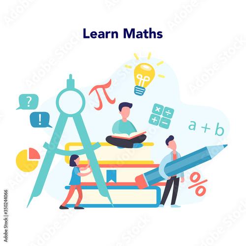 Obraz Math school subject. Learning mathematics, idea of education - fototapety do salonu