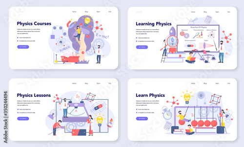 Physics school subject web banner or landing page set. Scientist Wallpaper Mural