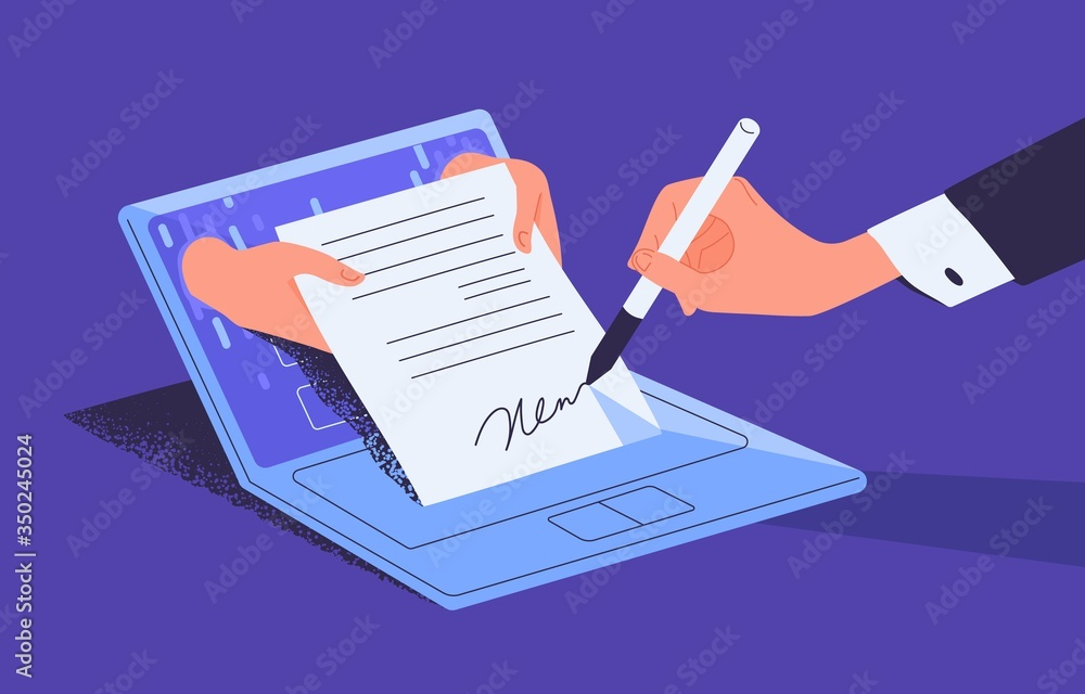 Fototapeta Man putting esignature into legal document. Digital signature concept. Businessman signing an agreement or contract online. Colorful vector illustration in flat cartoon style