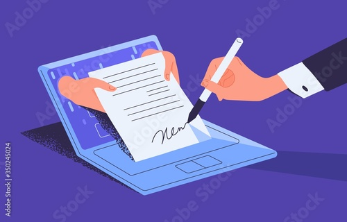 Photo Man putting esignature into legal document