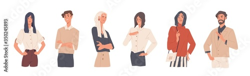 Photo Set of man and woman with arrogant face expression vector flat illustration
