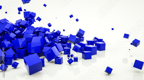 blue glossy cubes on a white background. abstract background. 3d render illustration