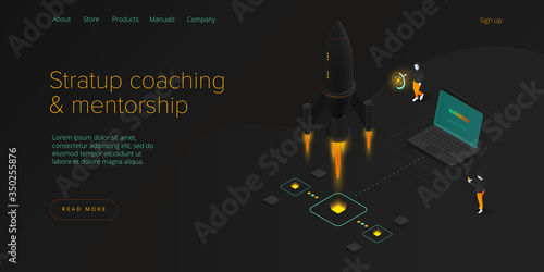 Fotografía Startup coaching and mentorship concept in isometric vector illustration