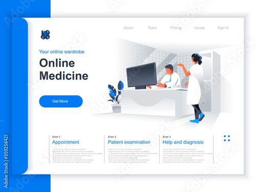 Photo Online medicine isometric landing page