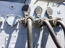 Electric Communications Cable Rubber Grommets On USS Iowa Naval Warship Destroyer Battleship