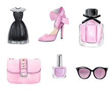 Watercolor Pink Fashion Accessories Set Isolated On White Background. Shoes, Perfume, Dress, Bag, Sunglasses, Polish Clipart. For Planner Stickers, Textile Prints, DIY Projects