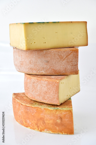 a pyramid of cheeses called fontina typical of the aosta valley in italy Canvas Print