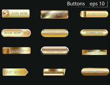 Set Of Glass Gold Buttons And Sliders, Web Icons Of Different Forms. Gradient Mesh. Button Set Color Gold Glossy. EPS 10