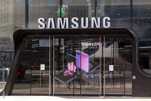 Toronto, Canada - May 16, 2020: Samsung store at Eaton Centre in Toronto, Canada. Samsung is a South Korean multinational conglomerate.