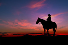 Cowboy Silhouette With Horse I...