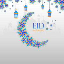 Eid Mubarak Wallpaper Banner Design With Beautiful Floral Moon, Flower, Masjid And Hanging Lantern Lamp For Promotional Advertise.