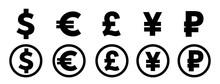 Dollar, Yuan, Euro, Pound Logo...