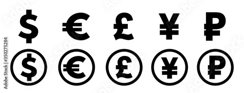 Fototapeta Dollar, yuan, euro, pound logo signs. Vector illustration obraz