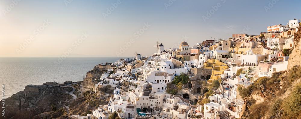 Fototapeta Panoramic view of the village Oia on the island of Santorin, Greece