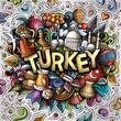 Turkey hand drawn cartoon doodles illustration. Funny travel design.