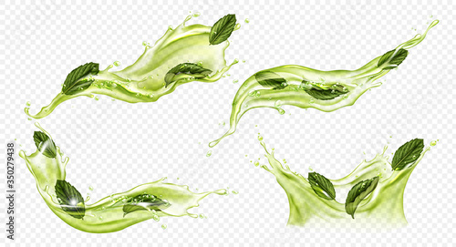 Fototapeta Splash of green tea with mint, matcha isolated on transparent background. Vector realistic set of liquid waves of falling and flowing water, menthol drink, cold tea with peppermint leaves obraz
