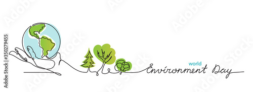 Obraz World environment day simple vector web banner, poster with earth and trees. One continuous line drawing. Minimalist banner, illustration with lettering environment day. - fototapety do salonu