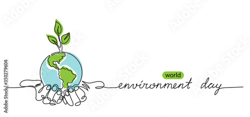 Fototapeta World environment day minimalist vector background with earth in hands and plant. One continuous line drawing. Poster, banner, background with lettering environment day. obraz